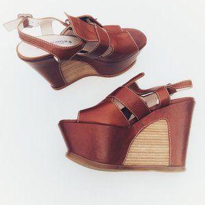 Guido Sgariglia Leather Wedge Heel Sandals